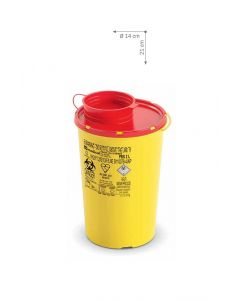 Kanülenabwurfbehälter 2,0 Ltr. Serie PBS NEW, gelb mit rotem Deckel