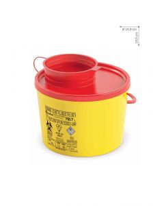 Kanülenabwurfbehälter 7,0 Ltr. Serie PBS NEW, gelb mit rotem Deckel